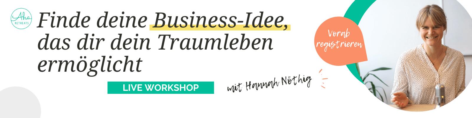 Live Workshop Finde deine Business Idee